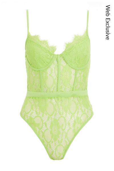 Lime Lace Corset Detail Bodysuit